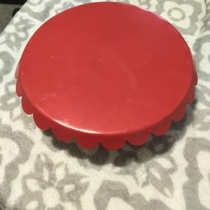 """Red cake stand with scalloped trim 12"""" single tier"""